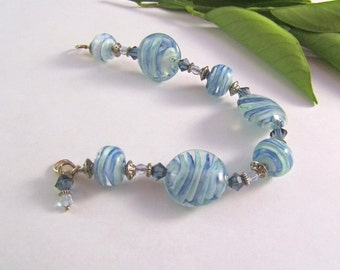 HALF PRICE SALE! Glass Beaded Bracelet - Lampwork Glass Beads and Swarovski Crystal - Blue and White Glass Beaded Bracelet - Blue Jewelry