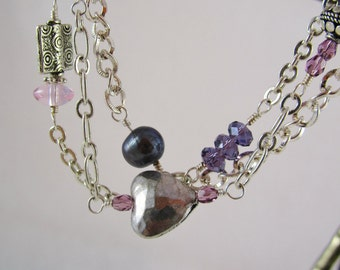 Purple and Silver Bracelet - Triple Strand Beaded Bracelet - Chain with Crystals Glass and Pearl - Silver Heart Bracelet