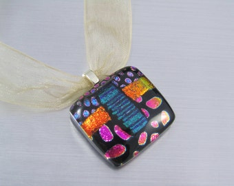 Dichroic Fused Glass Pendant - Square Dichroic Glass Pendant - Pink Orange and Blue Dichroic Glass