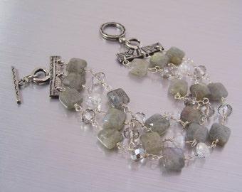 Labradorite Bracelet - Triple Strand Gemstone Bracelet - Labradorite and Crystal Beaded Bracelet - Handmade Beaded Bracelet  - Gift for Mom