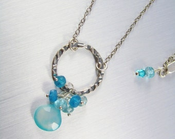 Aqua Chalcedony Necklace - Sterling Silver Hoop Necklace - Hammered Hoop & Chalcedony - Faceted Apatite Beaded Necklace -  Cluster Necklace