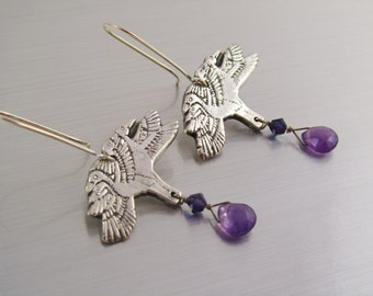 Fine Silver PMC Earrings - Birds in Flight - Silver Amethyst and Swarovski Crystals - Silver Dangle Earrings with Amethyst Drops