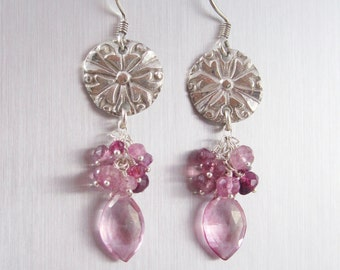 Fine Silver Dangle Earrings - Silver Flowers with Faceted Pink Quartz, Pink Sapphire and Tourmaline Beads - Fine Silver PMC Earrings