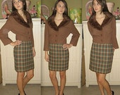 Miss Mayfair ..... Vintage 50s pencil skirt / 1950s plaid skirt / high waist waisted / fall fashion ... XS S waist 24
