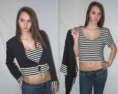 Rebel Yell ... Vintage 80s crop top / cropped jacket shirt / 1980s tshirt t shirt cardigan set / NOS deadstock / stripes ... S M