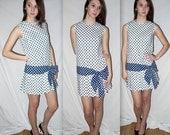 Connect ... vintage 60s mini dress / 1960s mod polka dot / drop dropped waist / twiggy go go flapper ...  XS S