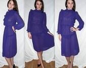 Proper attitude ... vintage 70s 80s bib front dress / 1970s semi sheer / 1980s ruffled high collar / Boho prairie secretary midi ... XS S
