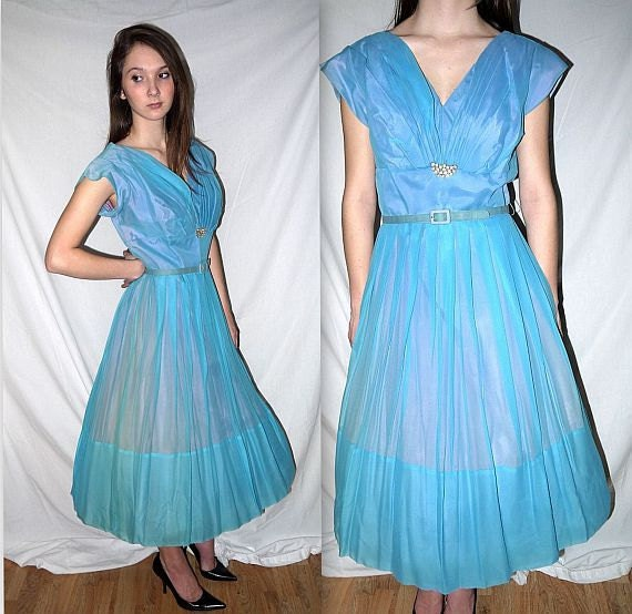 The proposal ....  Vintage 50s party dress / 1950s shelf bust / rhinestone detail / cocktail formal prom...  M L / bust 38