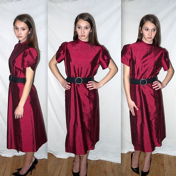 Garnet and pearls .... Vintage 50s dress / 1950s cocktail evening party / silk shantung petal sleeves / mad men ... M L / bust 40