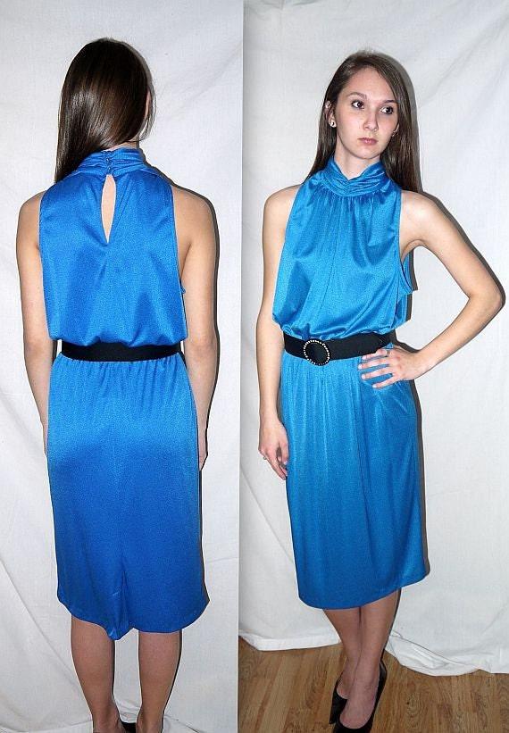 Boogie nights .... vintage 70s 80s midi dress / 1970s disco dress / high waist / party dress .. S M /  38
