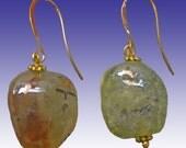 Genuine  Prehnite Earrings Big Natural Gems XL