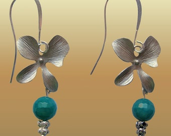 Teal  Blue  Natural Agate Gems And Silverplated Orchid Earrings