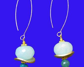 Teal Blue Natural  Agate Dangle Drop  Elongated Earrings Large xL