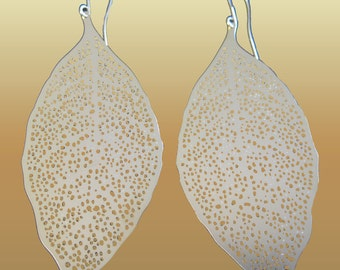 Elongated Dangle Lace  Drop  Leaf Earrings A Must For This Season Chic & Trendy . Gift .