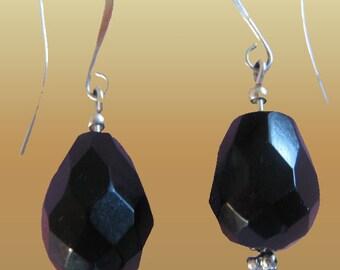 Natural Gemstone Black  Onyx Drop Earrings L