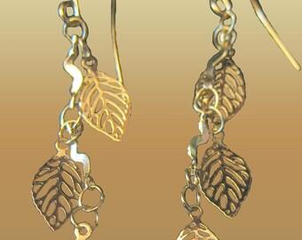 Little Gold Leaf Charms Drop Dangle Earrings xs Trendy