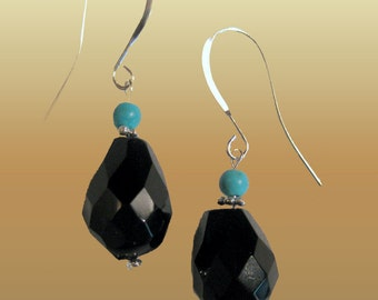 Black Onyx  And Turquoise Natural Gems Dangle Fashion   Earrings L Onyx Jewerly XL