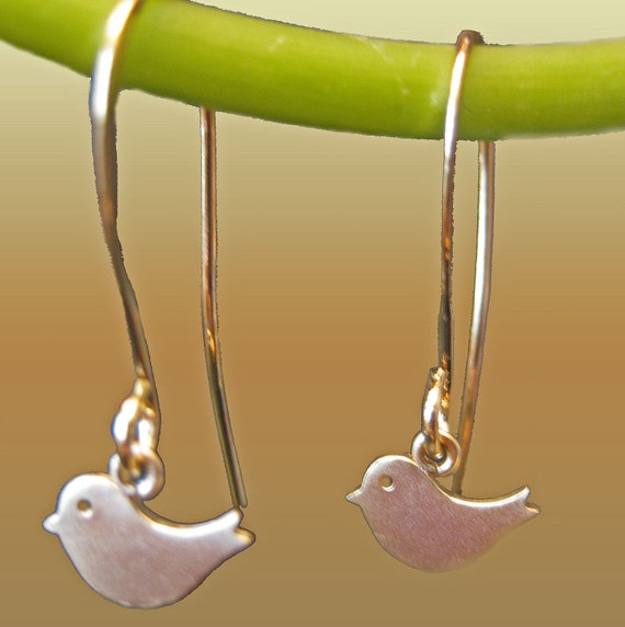 Dangle Petite  Sparrow Birds Charms Adorable  Drop  Earrings xs