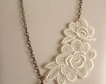 Necklace Vintage Lace and Pearl  Bridal Accessory