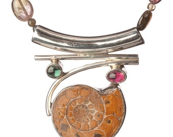 Pink, Green, Watermelon Tourmaline Necklace w/ Ammonite & Sterling Pendant-Fossil Archaeology Today - Free US shipping