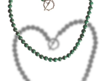 Intense Malachite and Sterling Necklace - For SCRYING Out Loud - Sale - Free US shipping