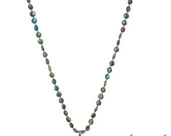 Rare Alluring and Vivid Chrysocolla/Malachite & Sterling Necklace and Stunning Pendant - PEACE - Free US shipping