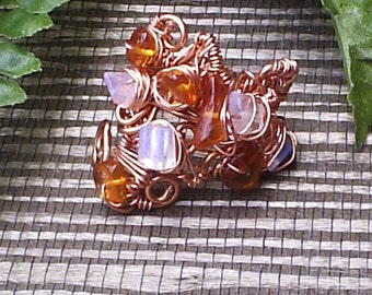 Copper Moonstone and Amber Wire Wrapped Ring