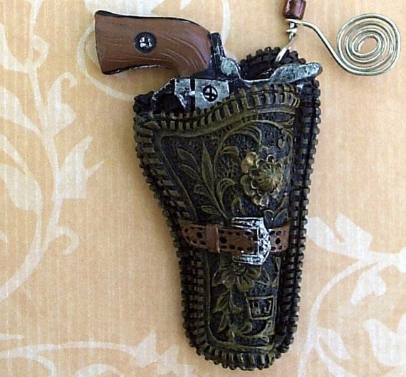 Western Ceiling Fan Light Pull Handcrafted Gun /Holster