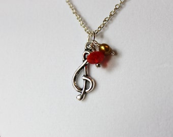 Silver Music Note Necklace - Tibetan Silver Music Note