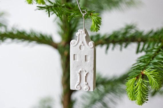 amsterdam ornament - pure white unglazed porcelain holiday ornament modern designer dutch holland