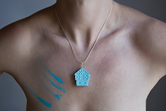 SALE necklace - turquoise unglazed porcelain sterling silver little clay house artisan jewelry