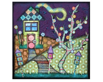mixed media, collage, House, Home, Tree, birdhouse, cottage, Mint, Purple, Plaid, Night, Comfort, Kid wall art, Cottage Decor, Print 8x10
