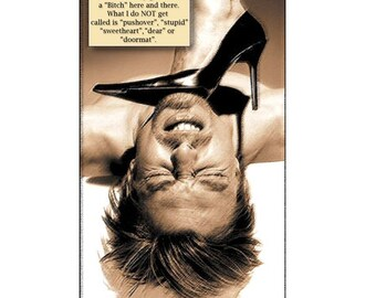 photo collage, mixed media, feminist, funny, tough, stiletto, sepia, cream, brown, friend, Note Card, Blank Inside, SET OF 4