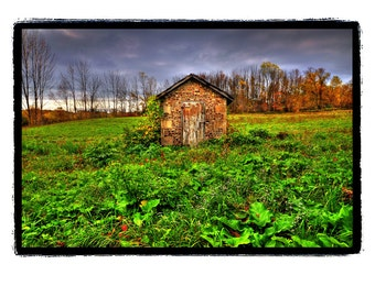 House-Cobblestone Smokehouse - Autumn, cabin, rustic,weathered wood, barn,Stormy Sky, Green, Blue, Stone, Fine Art Photography Print 8x10