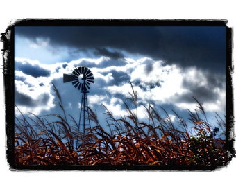 Rustic, Windmill, Farmland, Farm, Stormy, Cabin, shabby chic, Blue Clouds, Red, Black, Cornfield, Fine Art Photography Print
