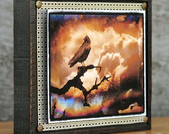 Mixed Media, Assemblage, nature photography, Crow, Raven, OOAK, Original, Stormy, Clouds, Bird, Sepia, Black, Cream, Brown