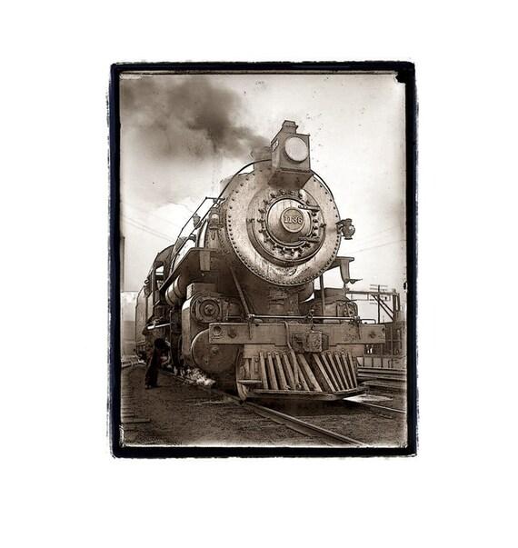Train photography, still life, Railroad, Locomotive, Industrial, Brown, Sepia, white, Rustic, Fine Art Print 8x10