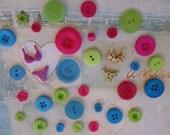 Bikini & Button Assortment, Scrapbooking, Cardmaking, Embellishment
