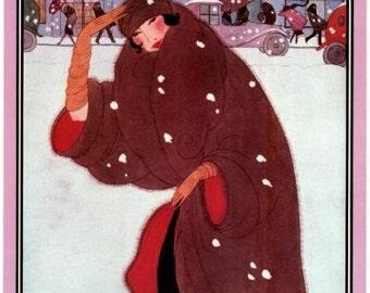 Poster of Vintage Vogue Magazine Cover- November 1, 1920 -Winter Fashions - Helen Dryden illustration