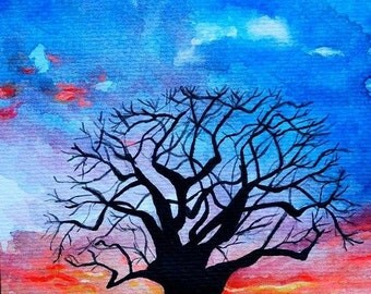 The Baobab Tree of Mozambique - Original Watercolour and Acrylic painting hand painted in Mozambique