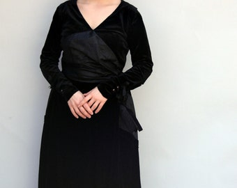 Vintage 1910's Dress - Mary Grantham - Edwardian Black Silk Velvet Dress with Removeable Sleeves