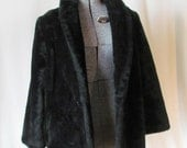Vintage, Plush, Black Faux Fur, Womens Coat/Jacket, Size: Medium