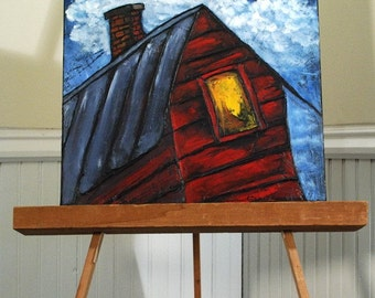 Red House Painting Original Folk Art on Textured Canvas Primary Colors