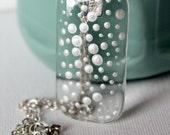 Mother of Pearl Dots Glass Pendant/ Handbag Charm