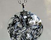 Black and White Swirls Round Glass Pendant