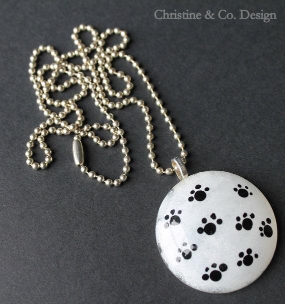Black and White Painted Paw Print Glass Pendant/ Handbag Charm