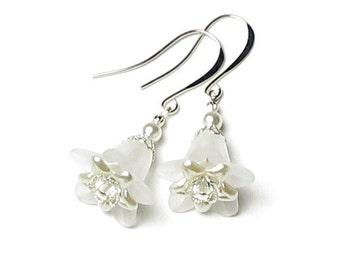 Wedding Bells, White Flower Earrings, Clear Swarovski Crystal And White Swarovski Pearl Earrings, Bridal Jewelry, Floral Bridesmaid Gift