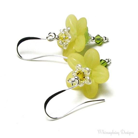 Yellow Honeysuckle Flower Swarovski Crystal Silver Earrings, Sweet Spring Floral Garden Jewelry, Wedding Bridal, Bridesmaid, Gift For Women