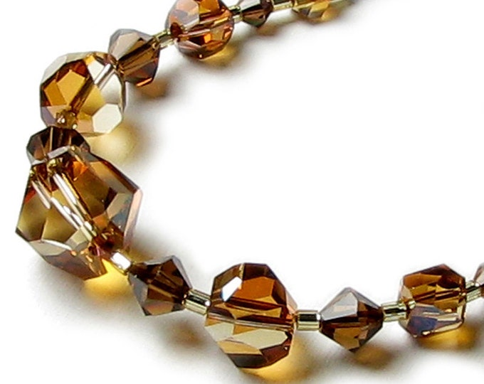 Tigress Swarovski Crystal Brown Copper Topaz Necklace, Wild Jungle Animal Print Inspired Jewelry, Bold Lion, Leopard Spot, Tiger Stripe Gift