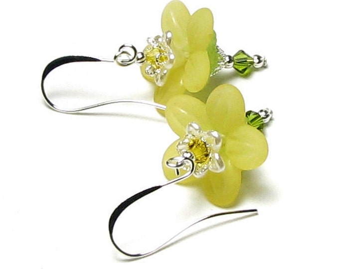 Yellow Honeysuckle Flower Swarovski Crystal Silver Earrings, Sweet Spring Floral Garden Jewelry, Wedding Bridal, Bridesmaid, Gift For Women
